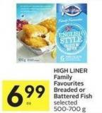 High Liner Family Favourites Breaded or Battered Fish Selected 500-700 g