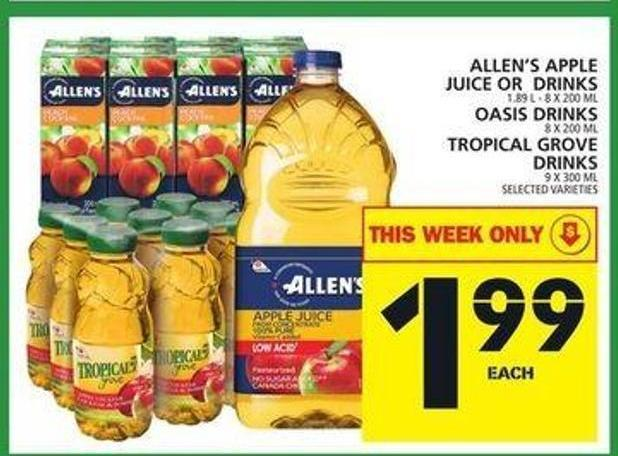Allen's Apple Juice Or Drinks Or Oasis Drinks Or Tropical Grove Drinks