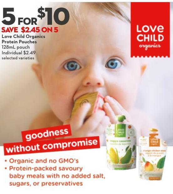 Love Child Organics Protein Pouches 128ml Pouch