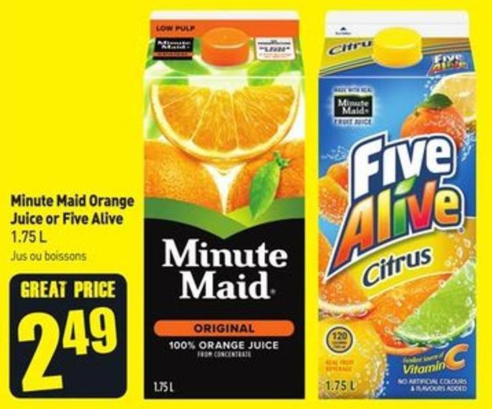 Minute Maid Orange Juice or Five Alive 1.75 L