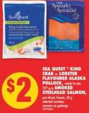 Sea Quest  King Crab Or Lobster Flavoured Alaska Pollock - 227 g or Smoked Steelhead Salmon - 50 g