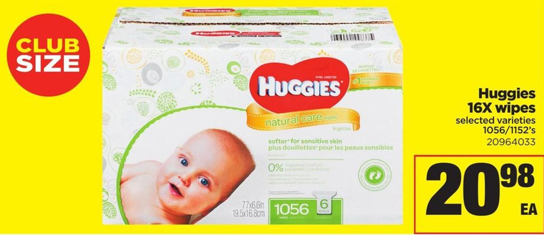 Huggies 16xwipes - 1056/1152's