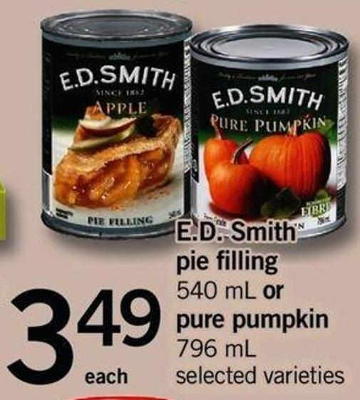 E.d. Smith Pie Filling - 540 Ml Or Pure Pumpkin - 796 Ml