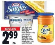 Kraft Singles 410 g - Cheez Whiz 450 g Or Philadelphia Cream Cheese 227 - 280 g