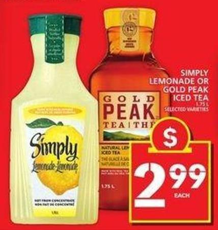 Simply Lemonade or Gold Peak Iced Tea
