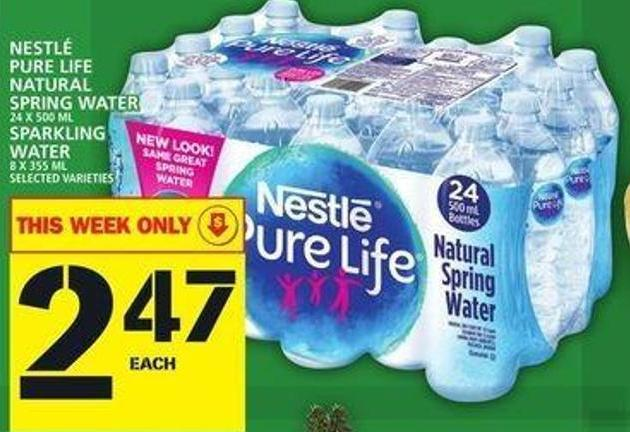 Nestlé Pure Life Natural Spring Water Or Sparkling Water