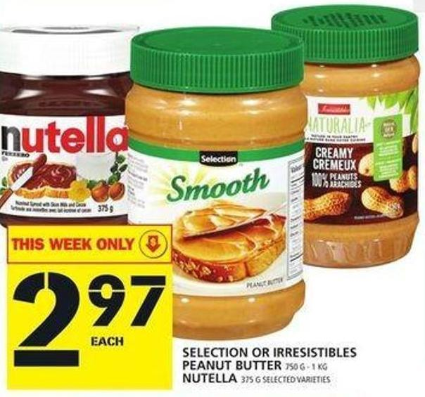 Selection Or Irresistibles Peanut Butter Or Nutella