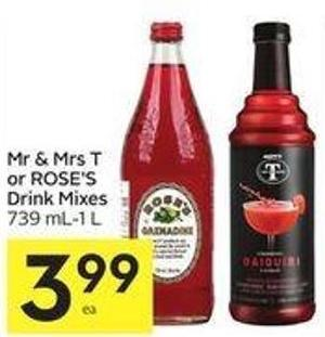 Mr & Mrs T or Rose's Drink Mixes 739 Ml-1 L