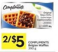 Compliments Belgian Waffles 390 g