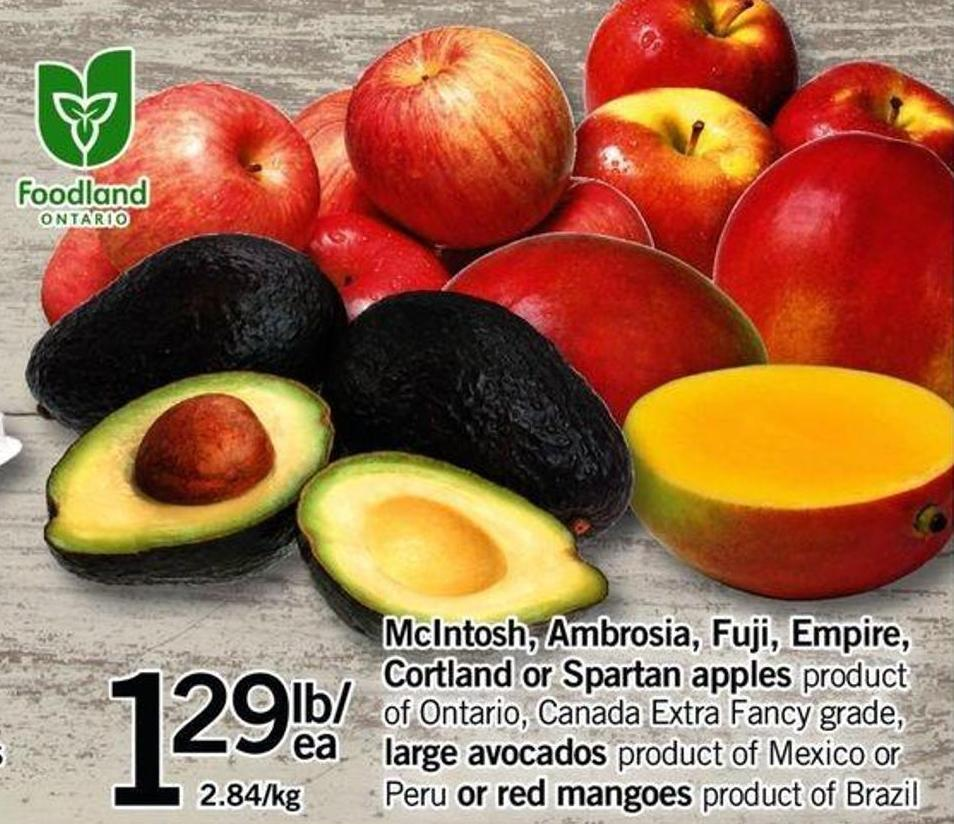 Mcintosh - Ambrosia - Fuji - Empire - Cortland Or Spartan Apples Or Large Avocados Or Red Mangoes