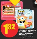 Schneiders Lunchmate Stackers or Kits 90-132 g or Shopsy's Regular Wieners 375 g