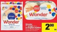 Wonder 7in Wraps - 340 G Or English Muffins - 342 G