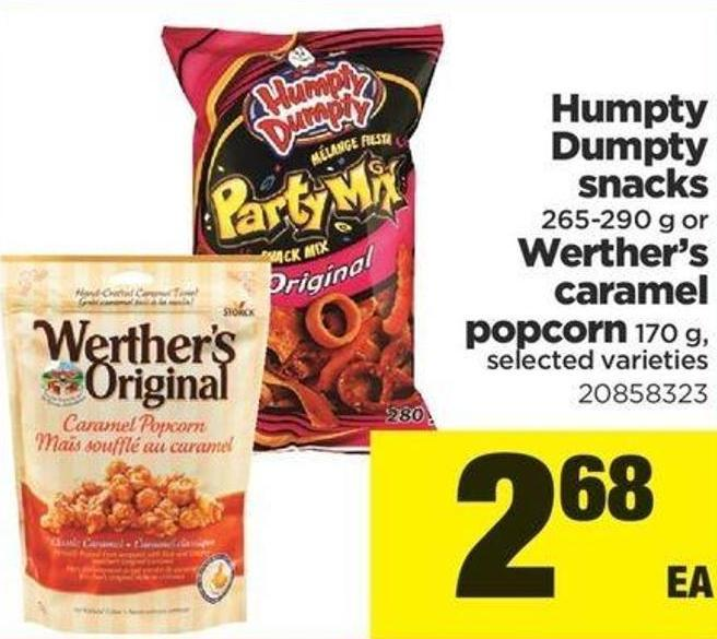 Humpty Dumpty Snacks - 265-290 G Or Werther's Caramel Popcorn - 170 G