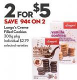 Longo's Creme  Filled Cookies 300g Pkg