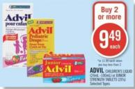 Advil Children's Liquid (24ml -100ml) or Junior Strength Tablets (20's)