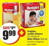 Huggies Jumbo Diapers 21-34 Pk or Baby Wipes 352 Pk