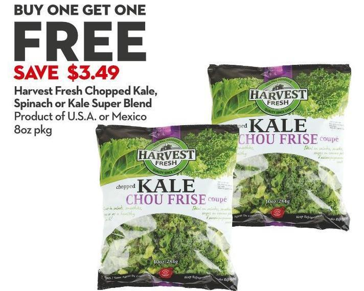 Harvest Fresh Chopped Kale - Spinach or Kale Super Blend