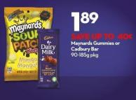 Maynards Gummies or Cadbury Bar 90-185g Pkg