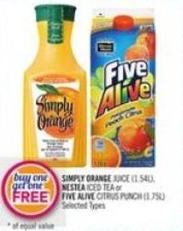 Simply Orange Juice (1.54l) - Nestea Iced Tea or Five Alive Citrus Punch (1.75l)