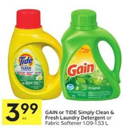 Gain or Tide Simply Clean & Fresh Laundry Detergent or Fabric Softener 1.09-1.53 L