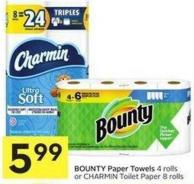 Bounty Paper Towels 4 Rolls or Charmin Toilet Paper 8 Rolls