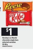 Hershey's Or Nestlé Chocolate Single Bars - 32-60 G