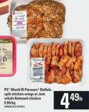 PC World Of Flavours Buffalo Split Chicken Wings Or Jerk Whole Flattened Chicken