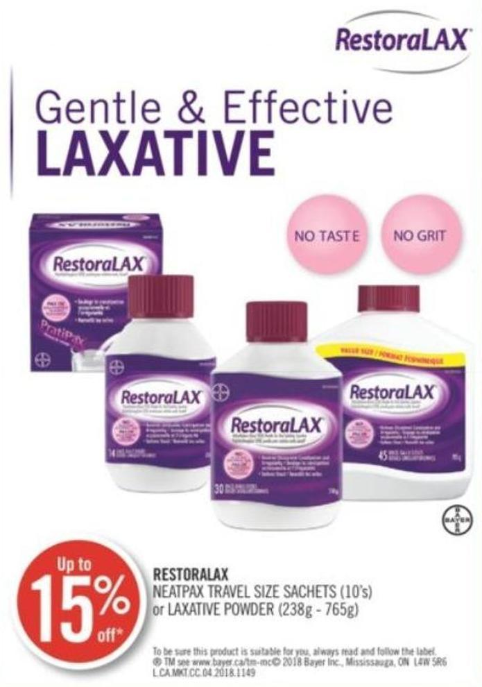 Restoralax Neatpax Travel Size Sachets (10's) or Laxative Powder (238g - 765g)