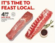 Fresh Ontario Pork Back Ribs  or Tenderloin