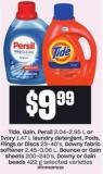 Tide - Gain - Persil 2.04-2.95 L Or Ivory 1.47 L Laundry Detergent - PODS - Flings Or Discs 23-40's - Downy Fabric Softener 2.45-3.06 L - Bounce Or Gain Sheets 200-240's - Downy Or Gain Beads 422 G