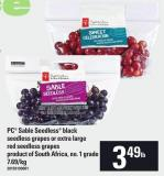PC Sable Seedless Black Seedless Grapes Or Extra Large Red Seedless Grapes