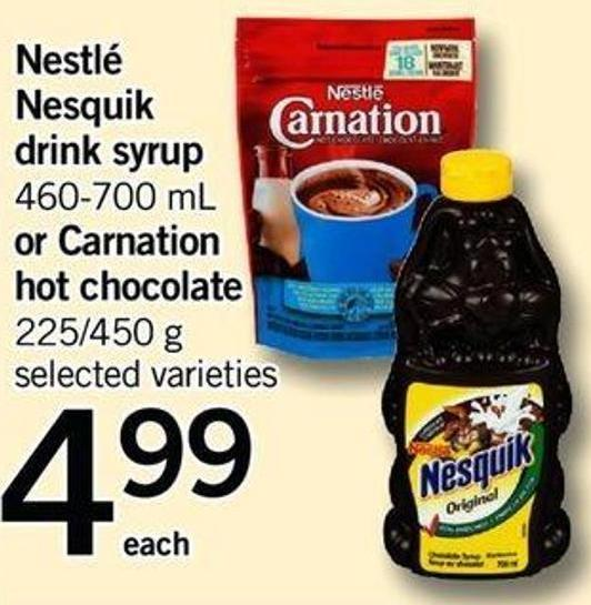 Nestlé Nesquik Drink Syrup - 460-700 Ml Or Carnation Hot Chocolate - 225/450 G