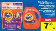 Tide Liquid - 2.04-2.21 L Or PODS - Flings! - 23-35's - Laundry Detergent - Downy Fabric Softener - 1.89/3.06 L - Scent Boosters 422 G - Bounce Sheets - 200's