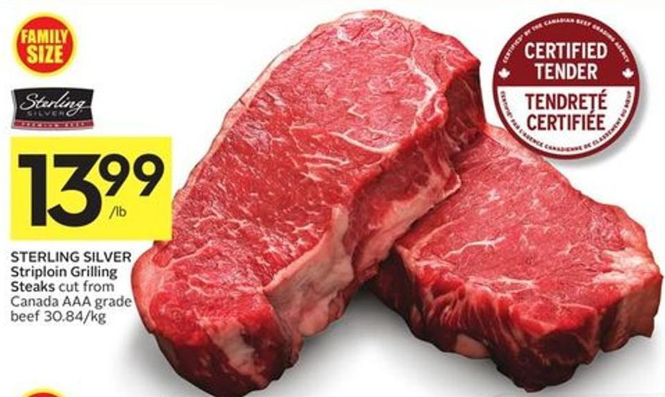 Sterling Silver Striploin Grilling Steaks Cut From Canada Aaa Grade Beef 30.84/kg