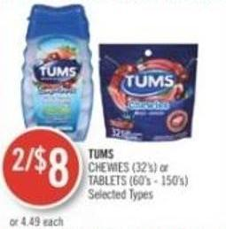 Tums Chewies (32's) or Tablets (60's - 150's)