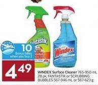 Windex Surface Cleaner 765-950 mL 28 Pk - Fantastik or Scrubbing Bubbles 567-946 mL or 567-623 g - 10 Air Miles Bonus Miles