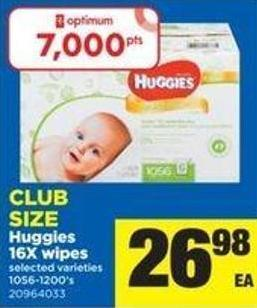 Huggies 16x Wipes - 1056-1200's