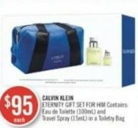 Calvin Klein Eternity Gift Set For Him Contains: Eau de Toilette (100ml) and Travel Spray (15ml) In A Toiletry Bag