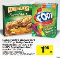Nature Valley Granola Bars - 120-230 G - Betty Crocker Fruit Snacks - 128-226 G Or Mott's Fruitsations Fruit Snacks - 126-226 G