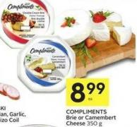Compliments Brie or Camembert Cheese 350 g