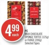 PC Milk Chocolate Sponge Toffee (125g) or Fudge (200g)