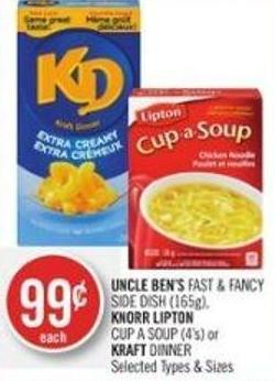 Uncle Ben's Fast & Fancy Side Dish (165g) - Knorr Lipton Cup A Soup (4's) or Kraft Dinner