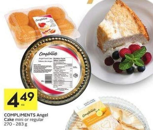 Compliments Angel Cake Mini or Regular 270 - 283 g