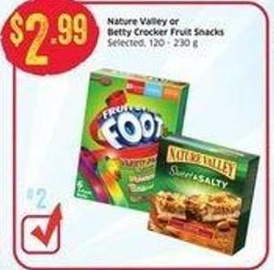 Nature Valley or Betty Crocker Fruit Snacks Selected - 120 - 230 g