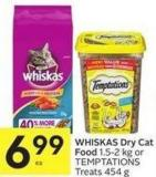 Whiskas Dry Cat Food 1.5-2 Kg or Temptations Treats 454 g