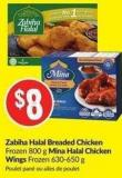 Zabiha Halal Breaded Chicken Frozen 800 g Mina Halal Chicken Wings Frozen 630-650 g