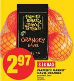 Farmer's Market Navel Oranges - 3 Lb Bag