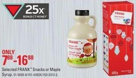Selected Frank Snacks or Maple Syrup