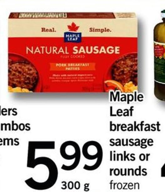Maple Leaf Breakfast Sausage Links Or Rounds.300 G