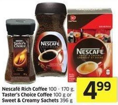 Nescafé Rich Coffee 100 - 170 g - Taster's Choice Coffee 100 g or Sweet & Creamy Sachets 396 g
